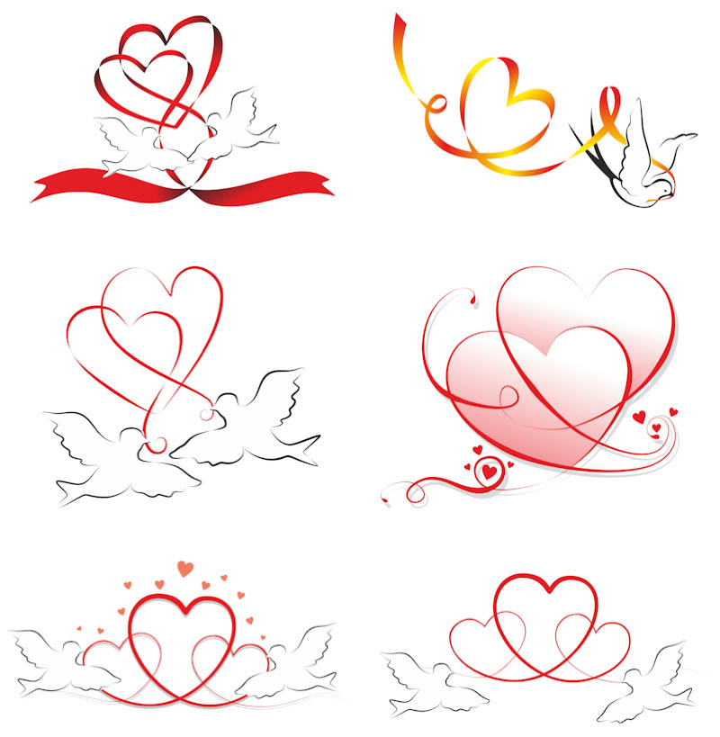 Love hearts and pigeons vector | Vector Graphics Blog