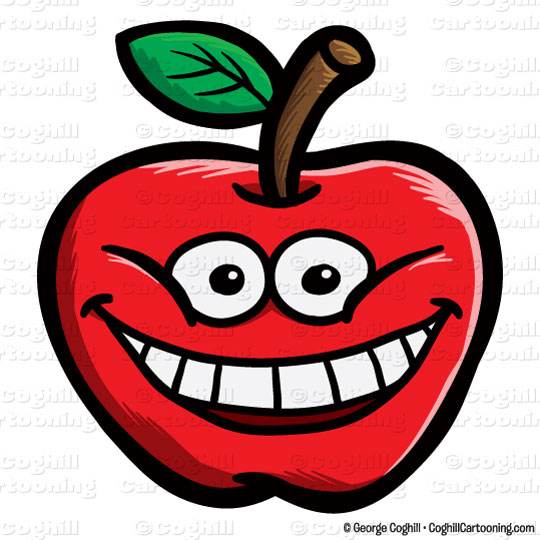 free smiling apple clipart - photo #7