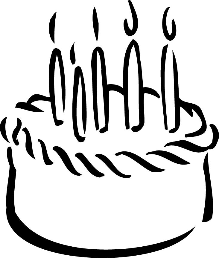 birthday cake outline printable for kidz - Coloring Point