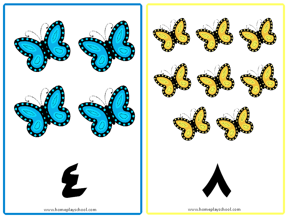 Free Printable: Arabic Numbers 1-10 Butterfly-Themed Flashcards (١ ...
