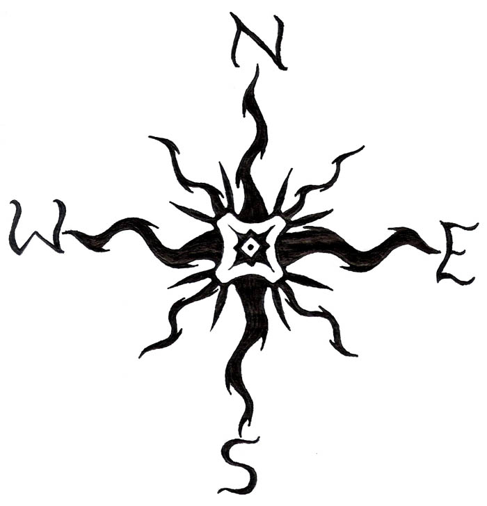how to draw a compass rose simple