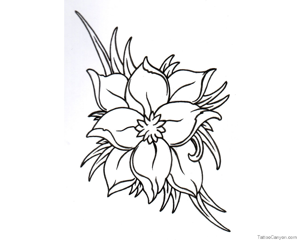 Black And White Flower Tattoo Designs Cliparts