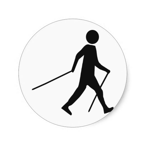 nordic walking icon round sticker | Zazzle