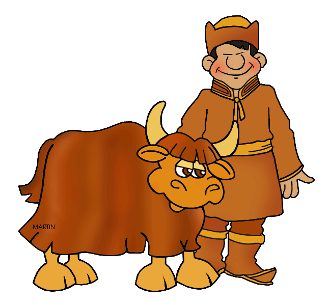Free Mongols Clip Art By Phillip Martin, Mongol Yak Herder - Cliparts ...