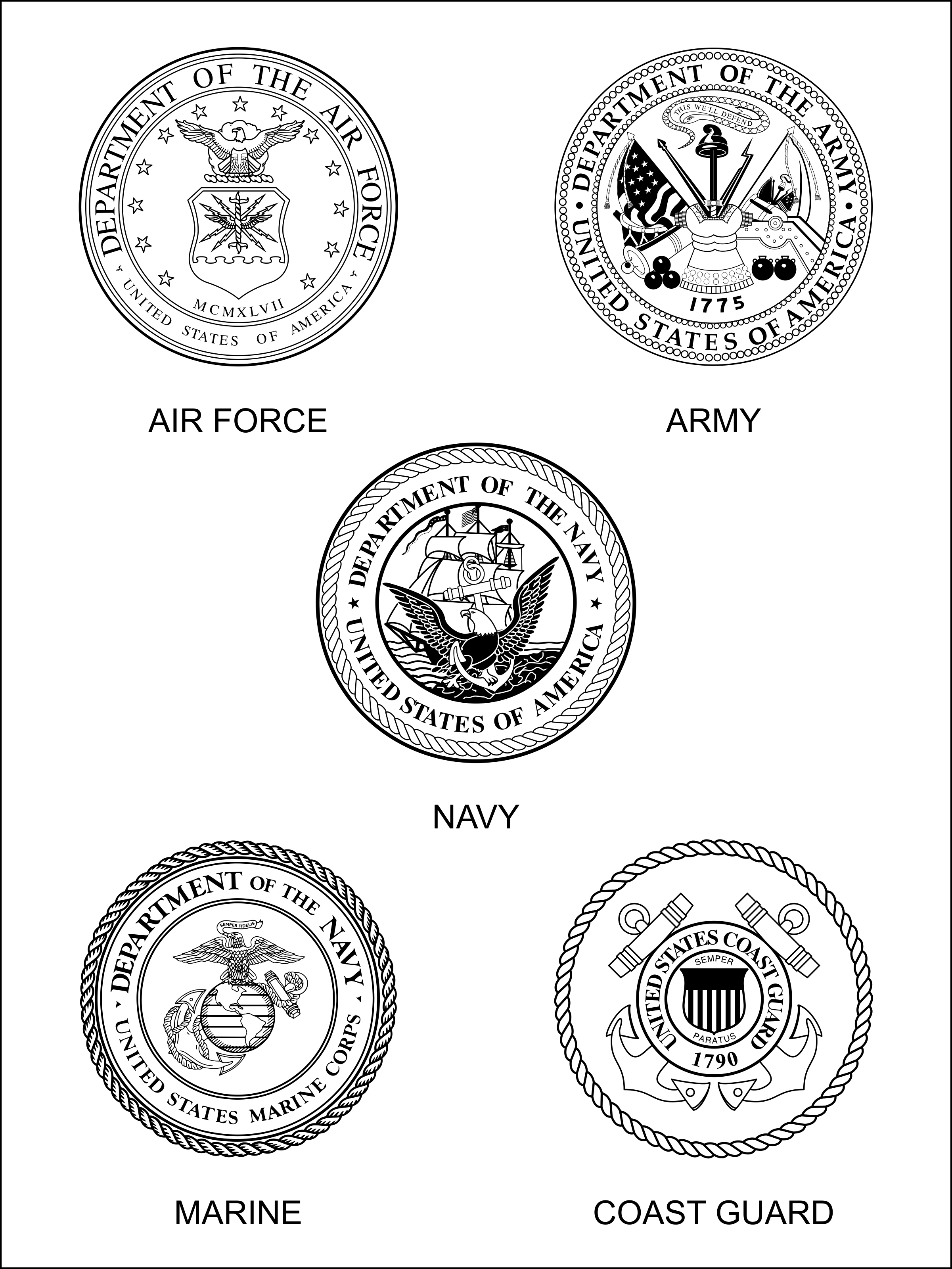 military branches symbols coloring pages - photo#5