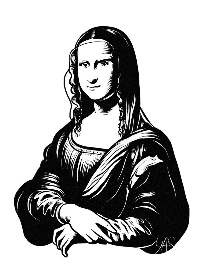 Contour Line Drawing Of Mona Lisa : Black and white mona lisa cliparts