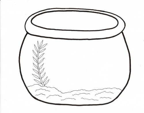 Slobbery image in fish bowl printable