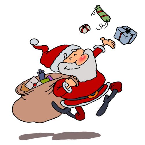 Free Black And White Santa Clipart