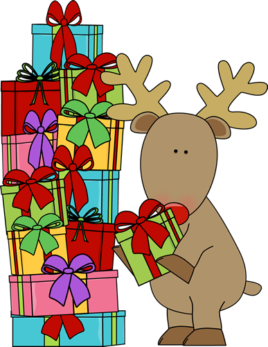 Reindeer and Christmas Gifts Clip Art - Reindeer and Christmas ...