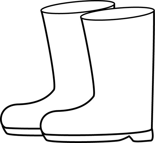 Black and White Rain Boots Clip Art - Black and White Rain Boots Image