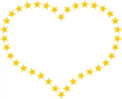 Heart Shaped Border With Yellow Stars clip art Vector clip art ...