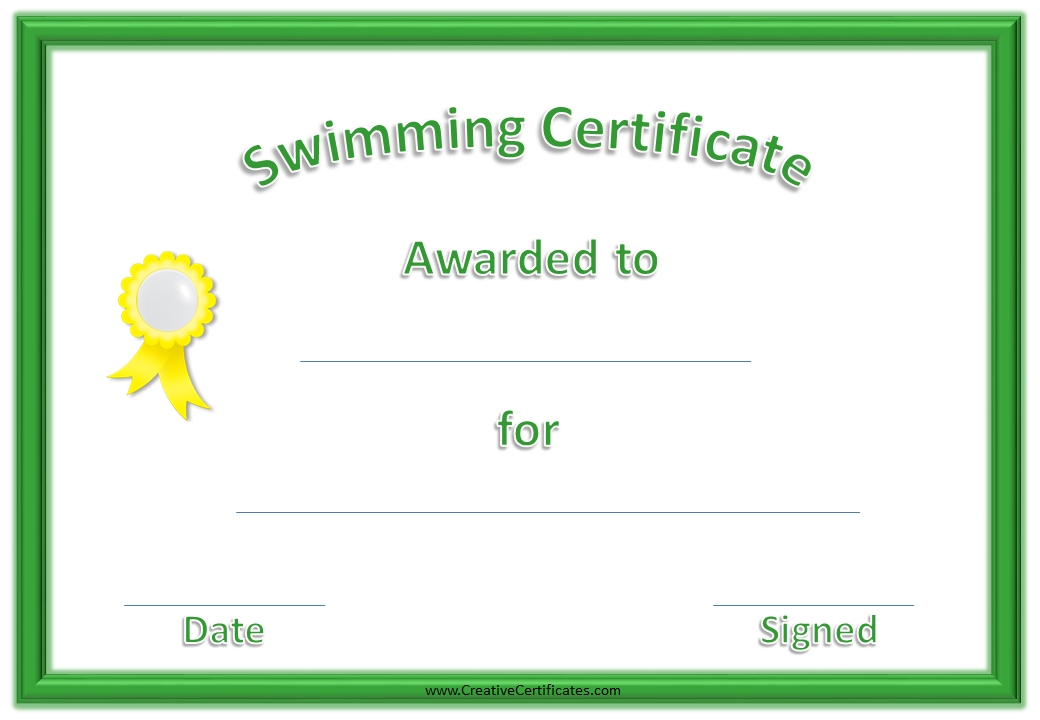 certificate template with kids swimming vector free download