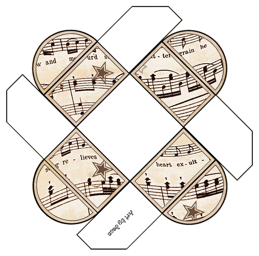 graphic about Vintage Sheet Music Printable named ArtbyJean - Traditional Sheet Audio: Printable Reward Containers