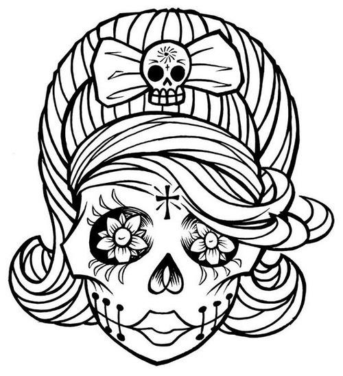 Sugar Skull Coloring Pages Pdf Free : Sugar skull clip art cliparts
