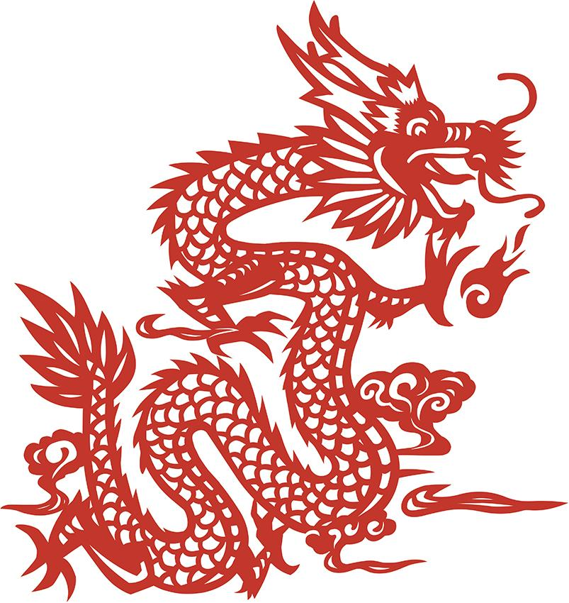 Chinese dragon drawing for Chinese paper cutting templates dragon