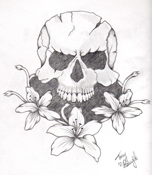 simple skull tattoo - 510×587