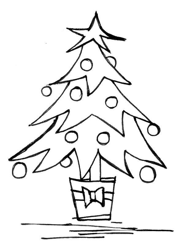 Line Drawing Christmas Tree : Christmas tree line drawing cliparts