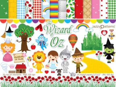 The Wonderful Wizard of Oz clipart and digital paper pack | Meylah
