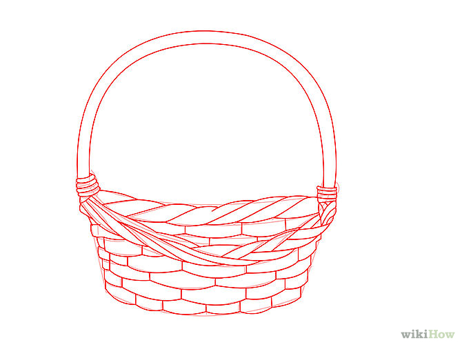 Flower Basket Line Drawing : Flower basket line drawing