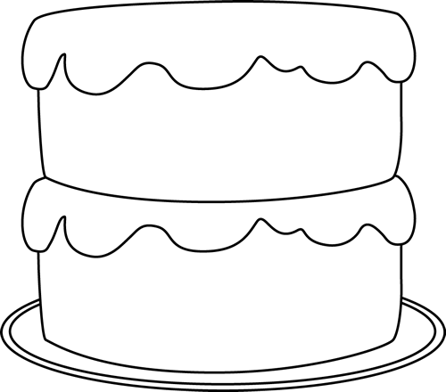 Black and White Cake on a Plate Clip Art - Black and White Cake on ...