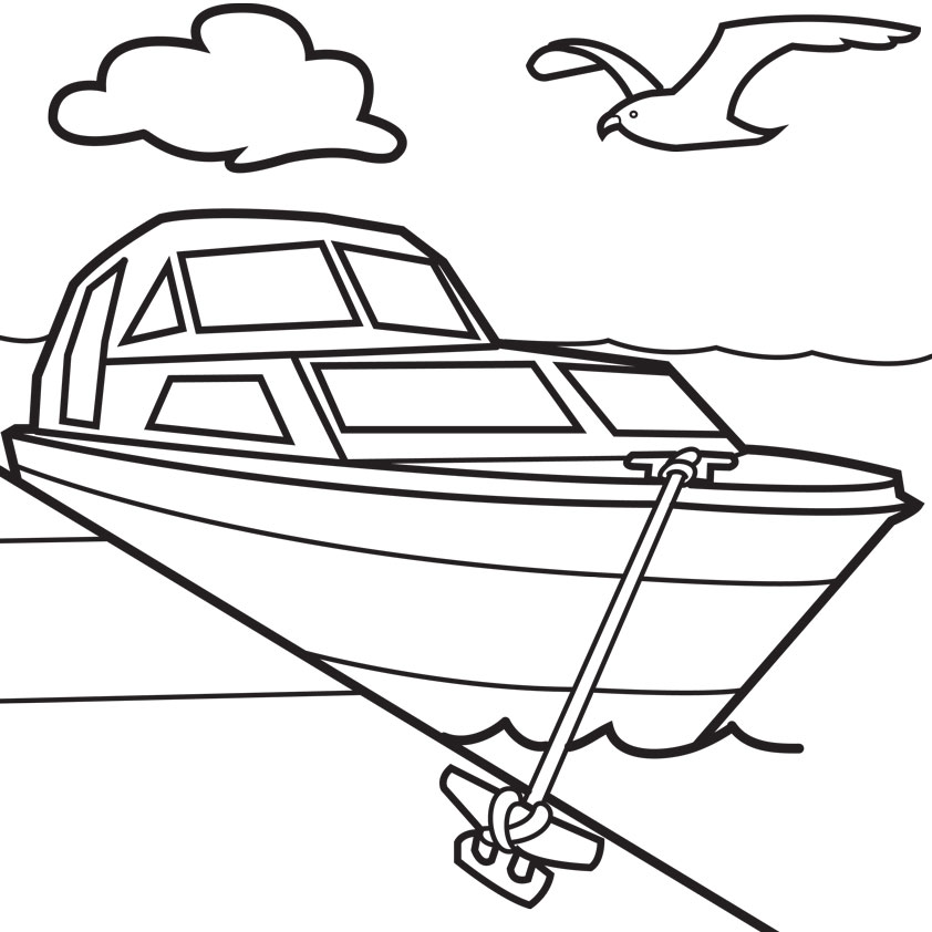 Cartoon Boats Colouring Pages
