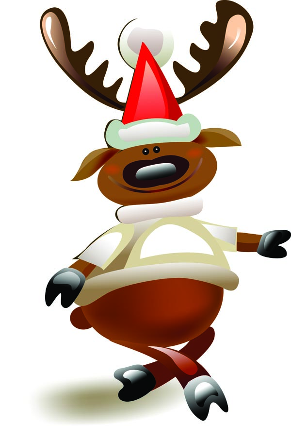 Cartoon moose and santa claus vector Free Vector / 4Vector