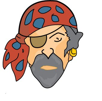 Numbers : pirateface_7_15 : Classroom Clipart