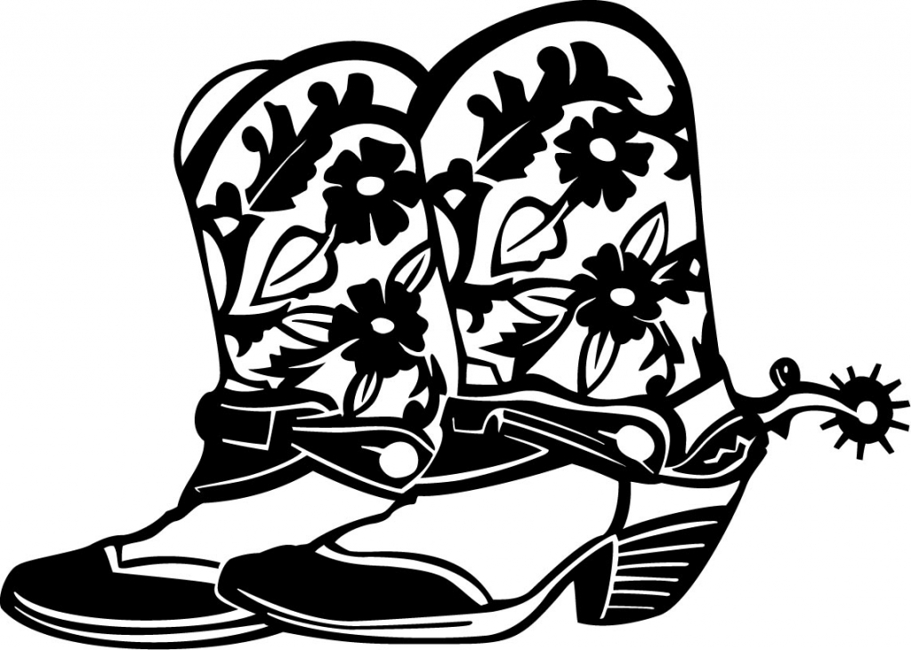 cowboy floral boots custom wall graphics - Cowboy Cowgirl Coloring Pages
