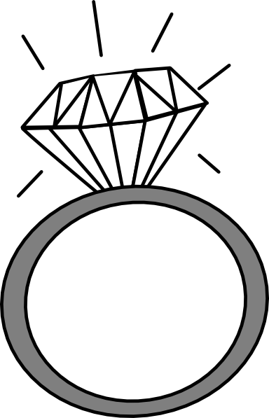 Wedding Rings Clipart Black And White - Giant Design