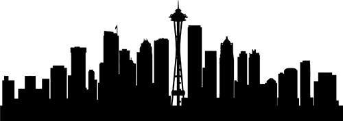 seattle skyline black and white painting | Paon The Fly