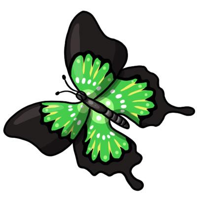green butterfly clipart