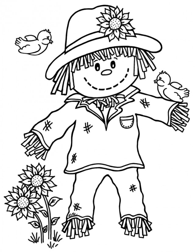 scarecrow coloring pages autumn - photo#3