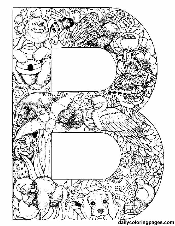 Decorative Alphabet Coloring Pages : Decorative alphabet zoo animal letters coloring pictures