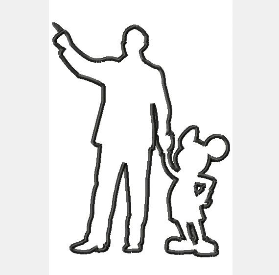 Walt Disney and Mickey Mouse Silhouette by FrouFrouByHeatherSue