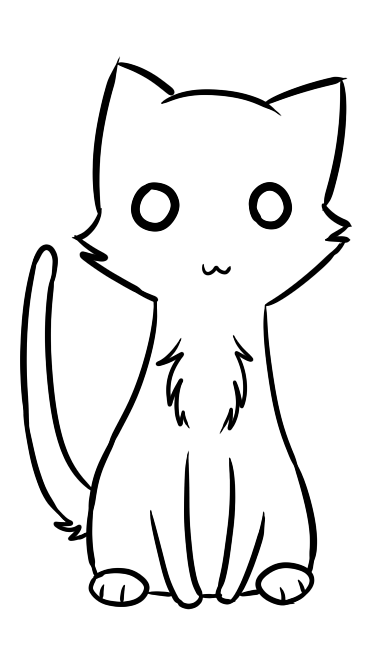 Line Art Kitten : Cat lineart cliparts