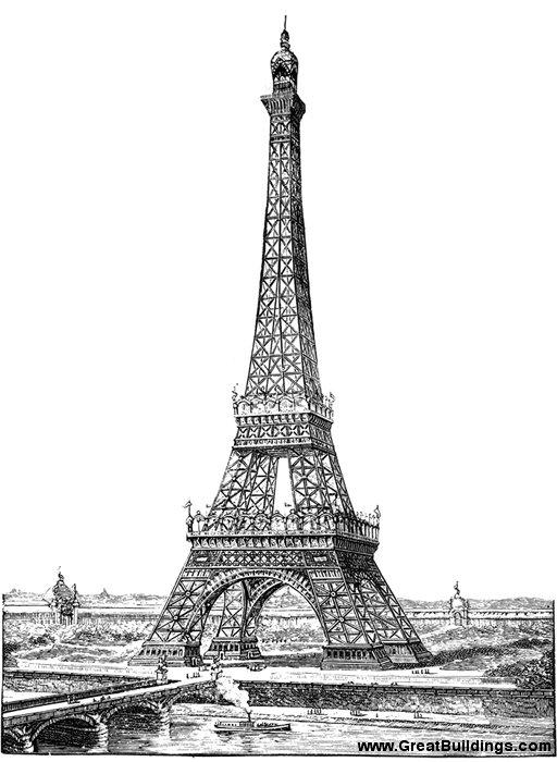 Eiffel tower drawing for Eiffel architect
