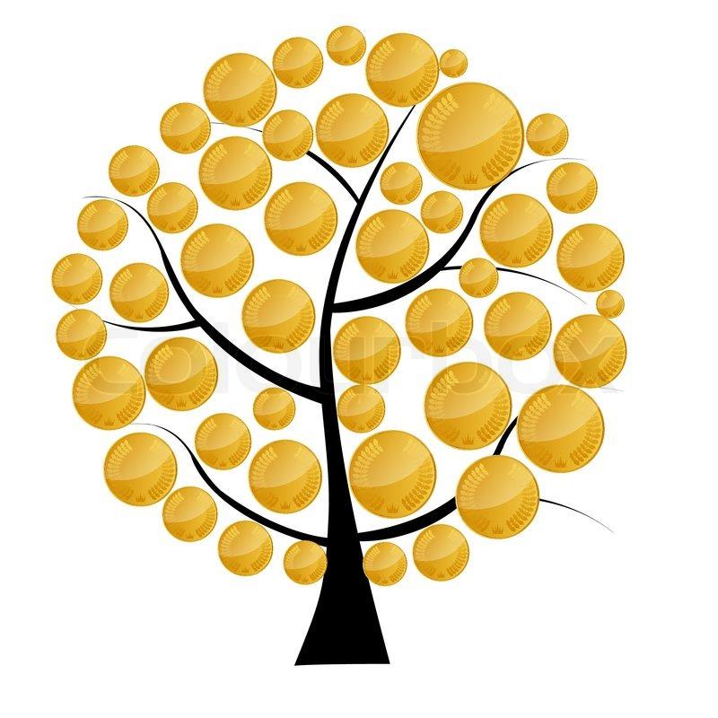 Дерево с монетами нарисовать