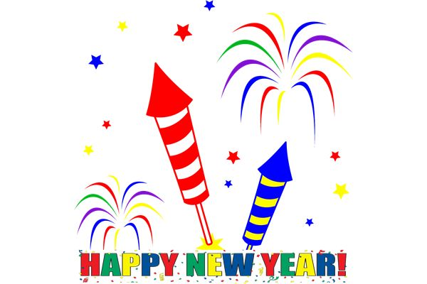 Happy New Year 2015 Fireworks Clipart Image