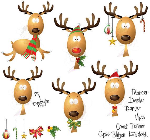 Christmas Clipart Cute Reindeer Scrapbooking by MayPLDigitalArt