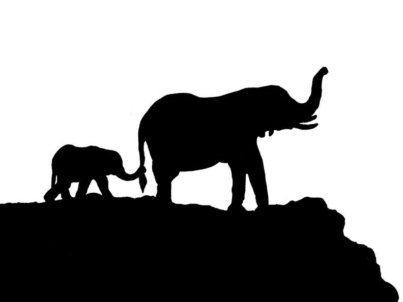 baby elephant stencil clipartsco
