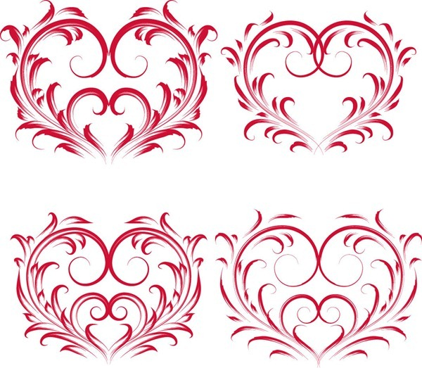 Red Valentine Floral Heart Vector Graphics | Flower Vector | Abstract