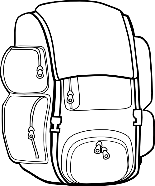 Back Pack Clip Art Black And White - Cliparts.co