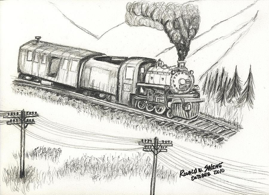 drawing locomotive steam engine