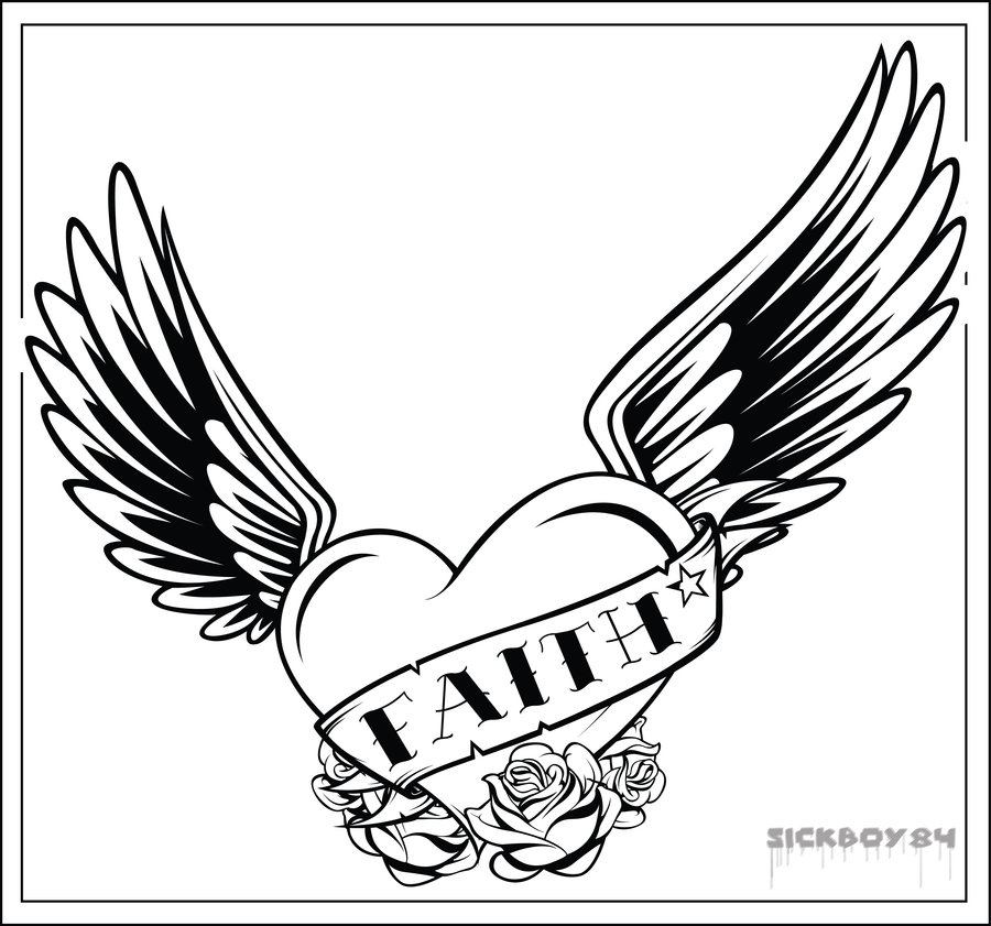 Coloring Pages Of Hearts With Wings And Roses - Cliparts.co
