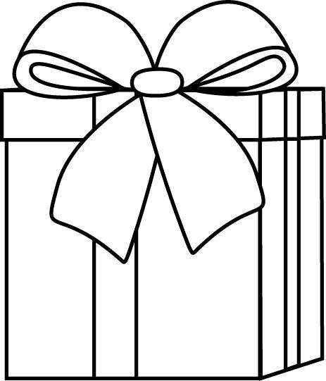 Gift Box Black And White Clipart