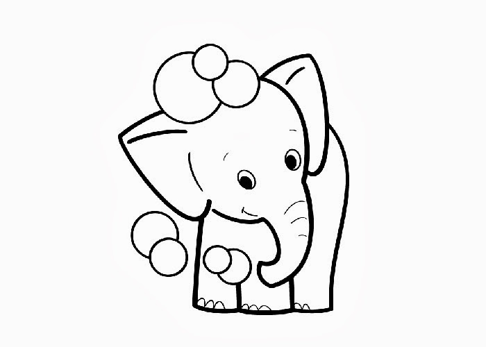 Big Elephant Color Page Baby Drawing For Kids