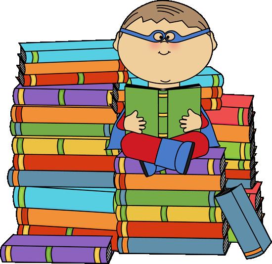 Boy Superhero Bookworm Clip Art - Boy Superhero Bookworm Image
