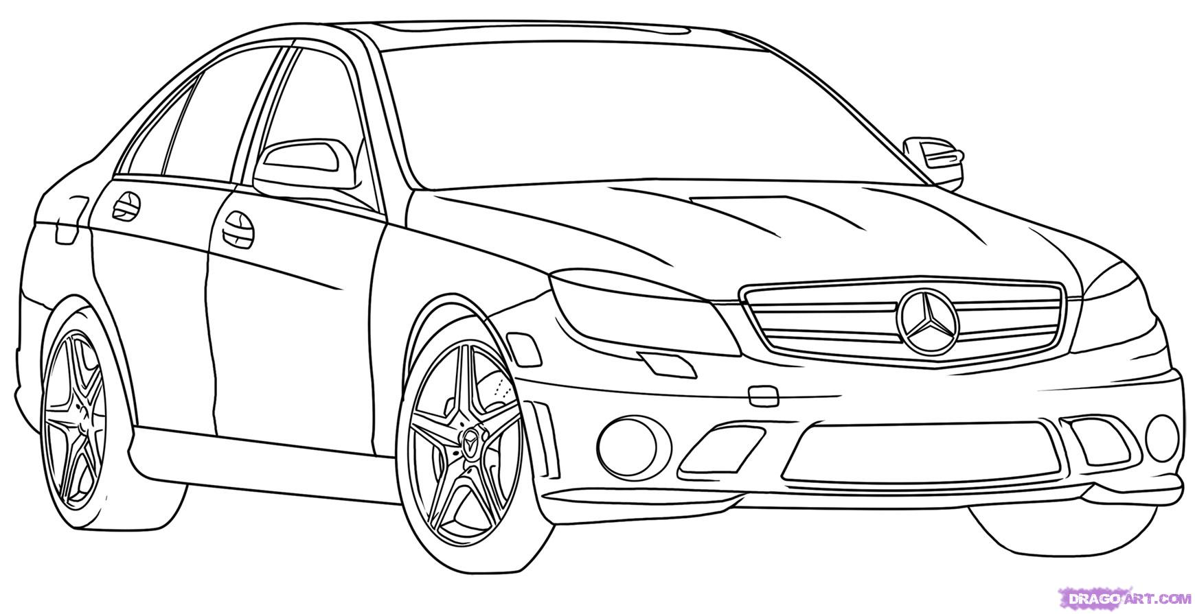 How to Draw a Mercedes-Benz, Step by Step, Cars, Draw Cars Online ...
