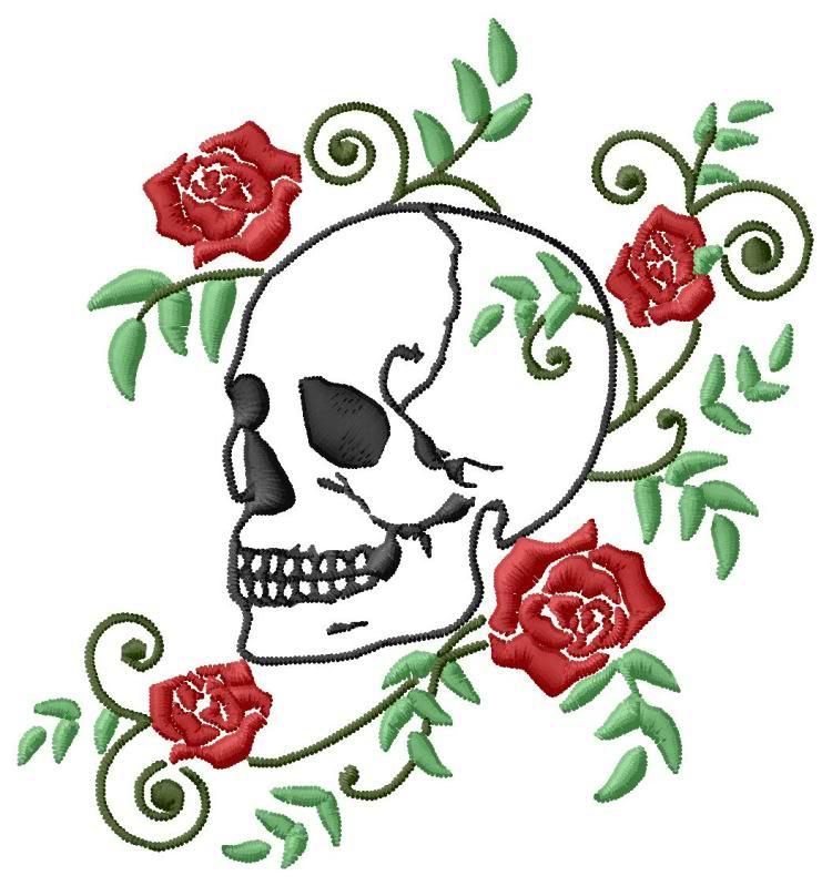 Skull And Rose Vine Embroidery Design 2 Sizes Single Designs