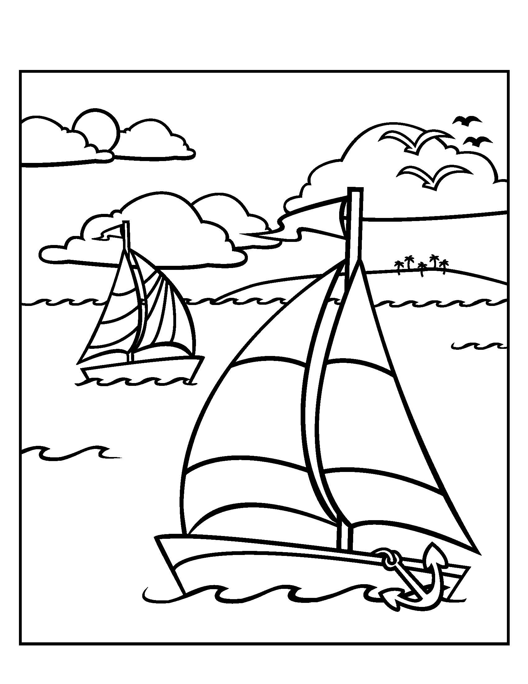 Sailboat Coloring Cliparts